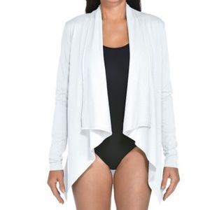 Coolibar white draped wrap UV 50spf cardigan open